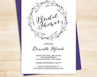 Floral Bridal Shower Invitation / Purple Flowers, Lavender Twig Wreath / Bridal Shower Invite  ▷ Printed Heavy Paper {or} Printable