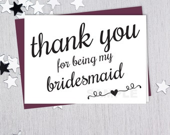 For Being My Bridesmaid // Wedding Thank You Card DIY // Elegant Calligraphy Printable PDF // Classic Elegance ▷ Instant Download