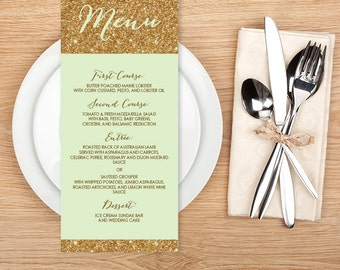 Gold Sparkle Wedding Menu Card / Metallic Gold Glitter on Green Background Menu  ▷ Printable File {or} Printed & Shipped