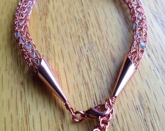 Copper and Gems Viking Knit Bracelet