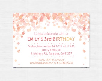 Peach Birthday Invitation, Printable birthday invitation, Children Birthday Party invitation, bokeh, Children party invitation, peach invite