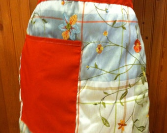 Apron made of repurposed linens, apron, linens, orange apron, handmade apron, cooking, kitchen