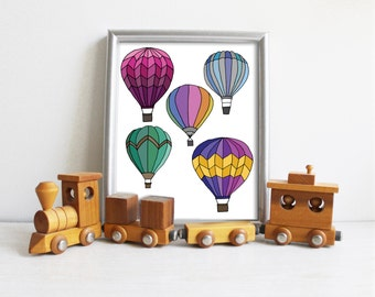 Printable Download Balloons Nursery Print Childrens Art Hot Air Balloons