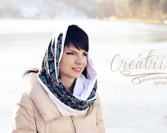 White Infinity Scarf, Winter Scarf, Multicolor Scoodie, Hair Scarves, Gray Hooded Scarf, Flower Loop Scarf, Green Head Scarf, Floral Cowl