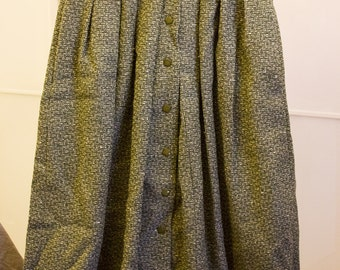 Olive green tweed full wool skirt pleated