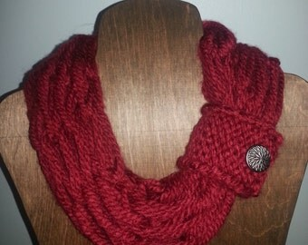 Red (Deep Scarlet) Infinity Scarf with Button Cuff - Arm-Knit
