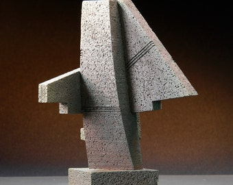 Cheyenne Monolith - Abstract sculpture maquette, architectural geometric, monumental statue, cast bronze model, modern contemporary, Arfsten