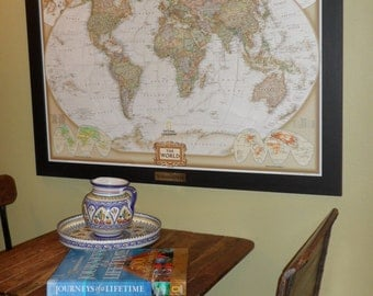Personalized Earth-toned World Push Pin Map with Brass Plate Pins and Frame