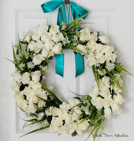 white rose wreath front door wreath winter wreath wedding. Black Bedroom Furniture Sets. Home Design Ideas