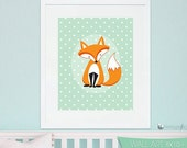 ON SALE Fox Art print, personalized wall art, DIGITAL or Printed, nursery print, custom art print, kids wall art by Prettygrafik - Wa100