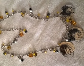 Necklace made with fragments of old books
