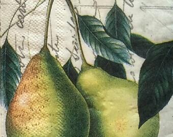 "3 Decoupage Serviette Hostess Napkins, Pears, 16""x13"" Craft Supplies"