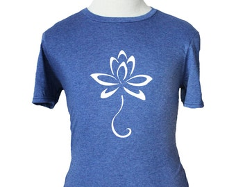 Buddhist Lotus Flower T-Shirt - Soft Vintage Style - Blue (S M L XL) Buddhism Buddha