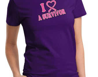 Breast Cancer Awareness Ladies Shirt I Heart a Survivor Tee T-Shirt IHAS-LPC61
