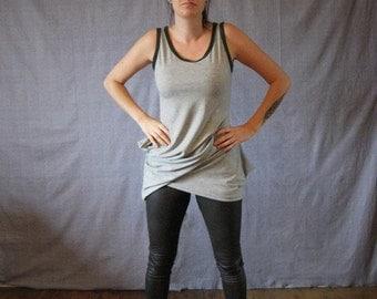 original grey asymmetric woman tank top