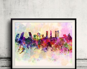 Madrid skyline in watercolor background 8x10 in. to 12x16 in. Poster Digital Wall art Illustration Print Art Decorative  - SKU 0013