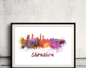 Shenzhen skyline in watercolor over white background with name of city 8x10 in. to 12x16 in. Poster Wall art Illustration Print  - SKU 0234