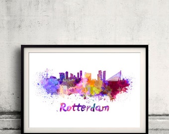 Rotterdam skyline in watercolor over white background with name of city 8x10 in. to 12x16 in. Poster Wall art Illustration Print  - SKU 0292
