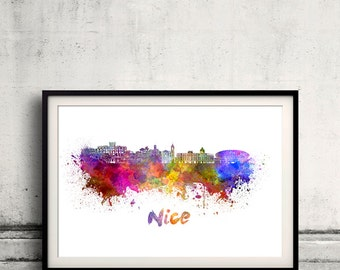Nice skyline in watercolor over white background with name of city 8x10 in. to 12x16 in. Poster Wall art Illustration Print  - SKU 0311