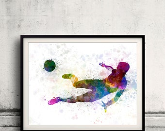 Man flying kicking playing soccer football 8x10 in. to 12x16 in. Poster Digital Wall art Illustration Print Art Decorative - SKU 0516