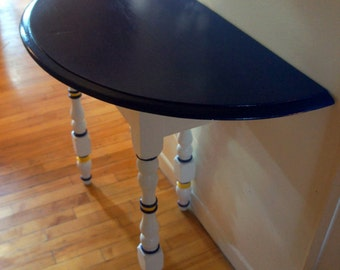 Hand Painted Refurbished Half Moon Table