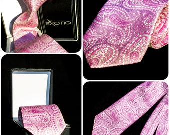 Pink Paisley Italian Silk Tie in Faux Leather Box