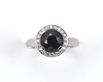 Sapphire ring, Diamond ring, Sapphire diamond ring, diamond ring, 18ct white gold ring, white gold sapphire ring