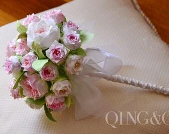 Handmade, Wedding Bouquet, Wedding Flowers, Paper Flowers, Gradient Pink