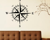 Wall Decal Nautical Compass Rose Wall Decor North South West East- Compass Wall Art- Compass Rose Wall Decal For Living Room Bedroom C046