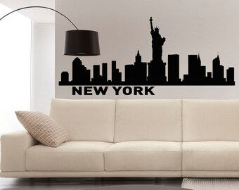 New York Skyline Wall Decals Vinyl Stickers NYC Skyline City Silhouette Wall Decal Offiice College Dorm Living Room Home Decor C011