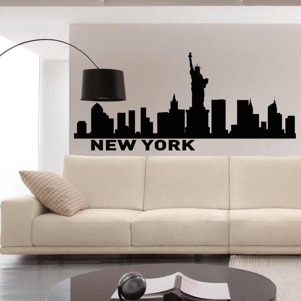 New york skyline wall decals vinyl stickers nyc skyline city for Sticker mural new york