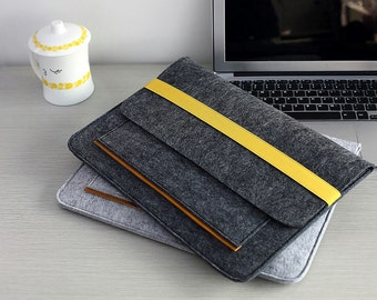 "Elastic Band Closure Felt 2016 15"" Macbook Pro Sleeve , Felt 15 inch Laptop Case , Felt Macbook Pro 15 Sleeve , Felt 15 inch Laptop Bag #210"