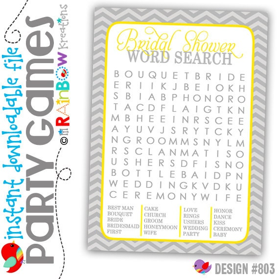 GAME3-803: DIY - Gray and Yellow Bridal Shower Word Search Party Game - Instant Downloadable File