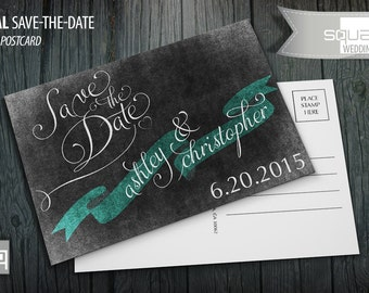 Save-the-Date Chalkboard Postcards - Custom Wedding Post Cards - Save the Date Chalkboard Postcard - CASAL style - TEAL