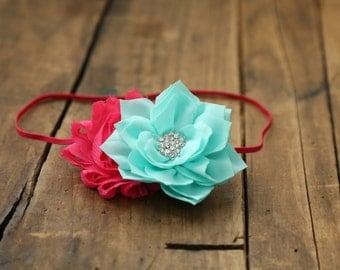 Hot pink and teal baby girl headband, Baby girl headband, Newborn headband, Spring headband