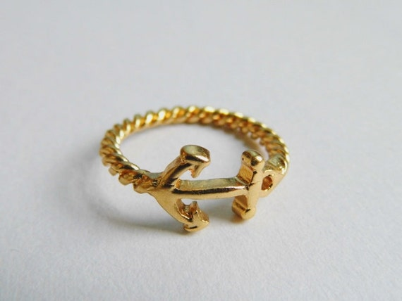twisted gold anchor ring gold twisted ring by