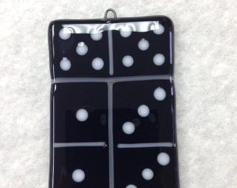 "Domino Fused Glass Ornament 2""x3"""