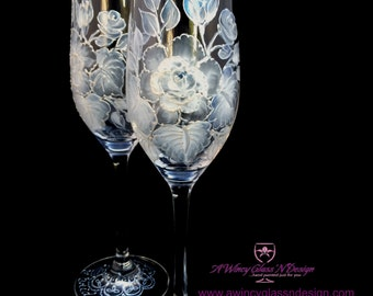 White Vintage Rose Hand Painted Champagne Flutes - 2 Flutes