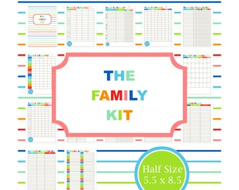 FAMILY PLANNER KIT, printable, family, calendar, to do list, home binder, mom planner, chore, organizer, Half Page, Half Size, 5.5 x 8.5