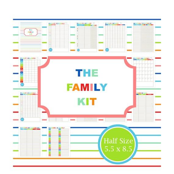 Family Calendar Organization : Family planner kit printable calendar to do list