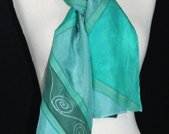 Green Silk Scarf. Dark Pine Hand Painted Silk Shawl. Teal Handmade Silk Scarf SPRING HAZE  Size 8x54. Birthday, Mother Gift. Gift-Wrapped.