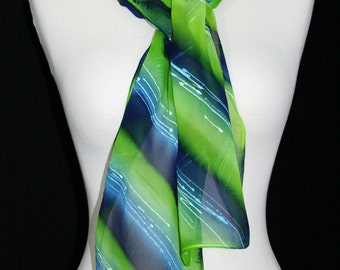 Lime Silk Scarf. Navy Blue, White Hand Painted Silk Shawl. Handmade Silk Scarf SUMMER MEADOWS Size 8x54. Birthday, Mother Gift. Gift-Wrapped