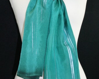 Teal Silk Scarf. Hand Painted Silk Shawl. Hand Dyed Scarf SIMPLY TEAL. Size 8x54. Birthday, Anniversary Gift. Gift-Wrapped.