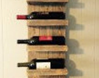 Wooden 5-Bottle wall mounted wine rack.