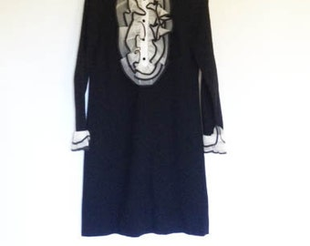 SALE// Vtg 70s TUXEDO DRESS// Ruffled Black A line dress // Ladies S