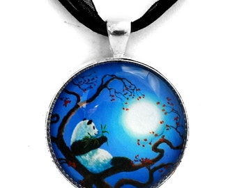 Panda Bear Necklace Moon Blue Moonlight Zen Handmade Jewelry Pendant