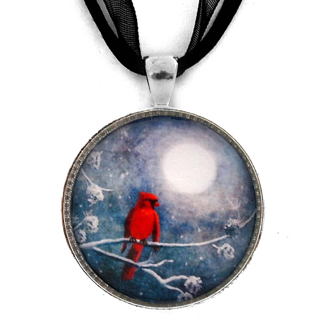 cardinal pendant bird necklace zen moon