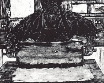 Master Printmaker Original Woodcut Linocut Relief Print Illustration Artist Belinda DelPesco