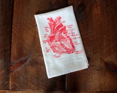 Heart Tea Towel, Heart Towel, Kitchen Towel, Heart Hand Towel, Diagram of Heart Towel, White Cotton Dish Towel