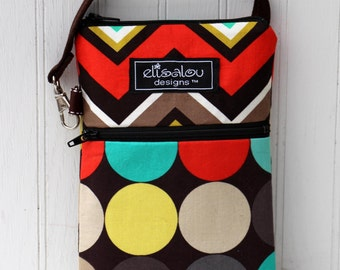 Chevron and Disco Dot Clementine 2 Pocket Padded Gadget, iPhone6, iPhone 6 Plus, iPod, cellphone, Samsung Galaxy, camera